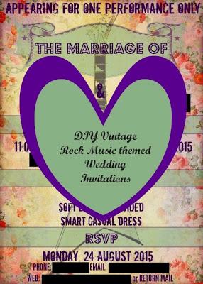 DIY Vintage Rock Music themed Wedding Invitations