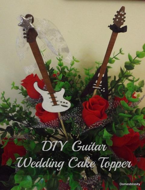 DIY Guitar Wedding Cake Topper