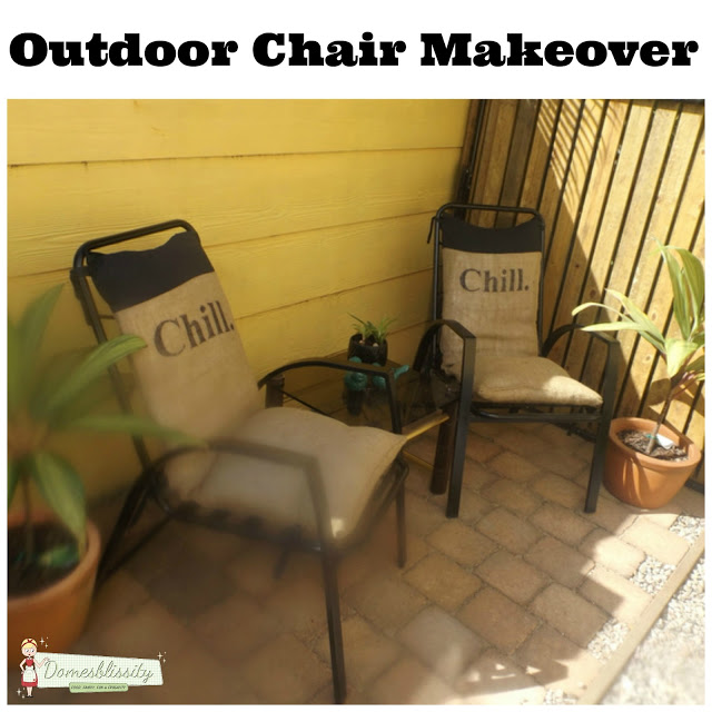 Outdoor furniture makeover with hessian (burlap) cushions
